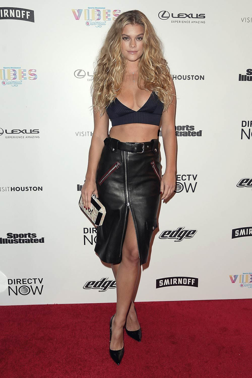 Nina Agdal black leather skirt http://www.hollywoodcelebrities.org ...