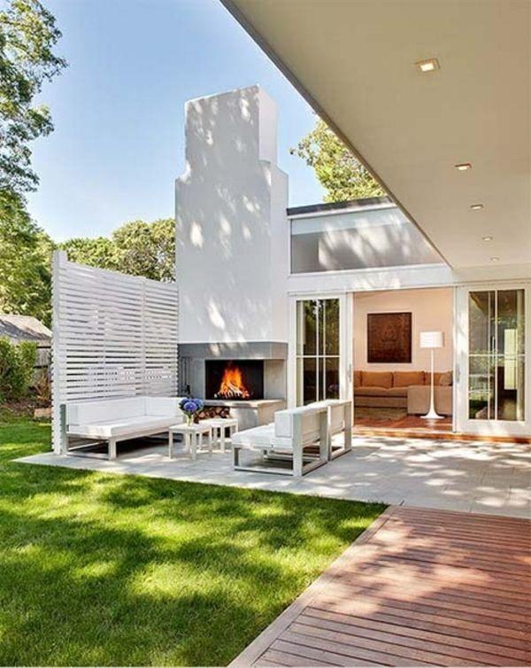 Schon Moderne Terrassengestaltung U2013 100 Bilder Und Kreative Einfälle   Terrasse  Gestalten Modern Rasen Kamin Stehlampe Möbel