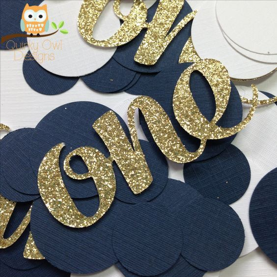 First Birthday Confetti Gold Glitter Navy Blue And White Decorations Table Decor Age