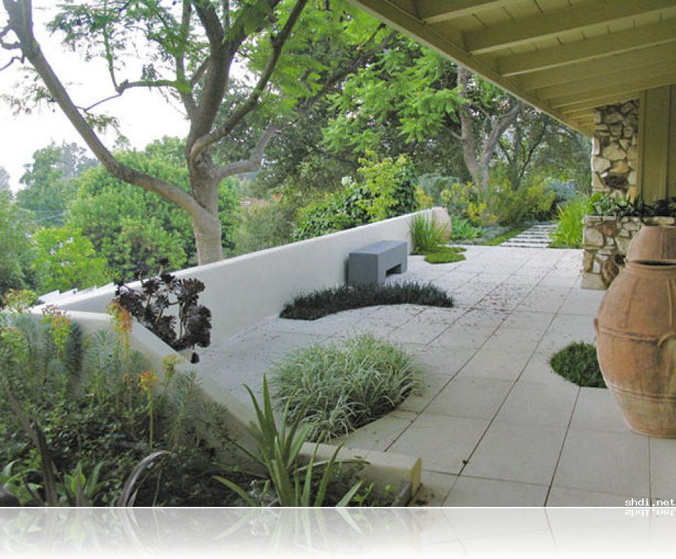 modern concrete patio. Modern Concrete Patio With Built-In Grass Planter