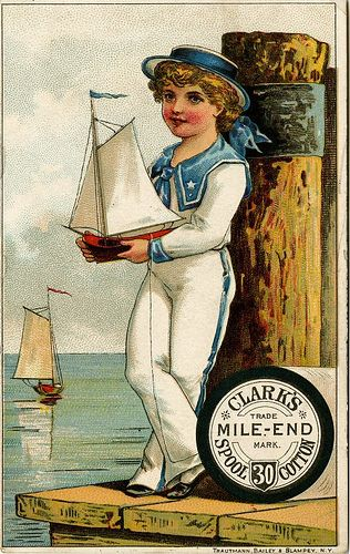 Clarks Mile-End Spool Cotton - Victorian trade card