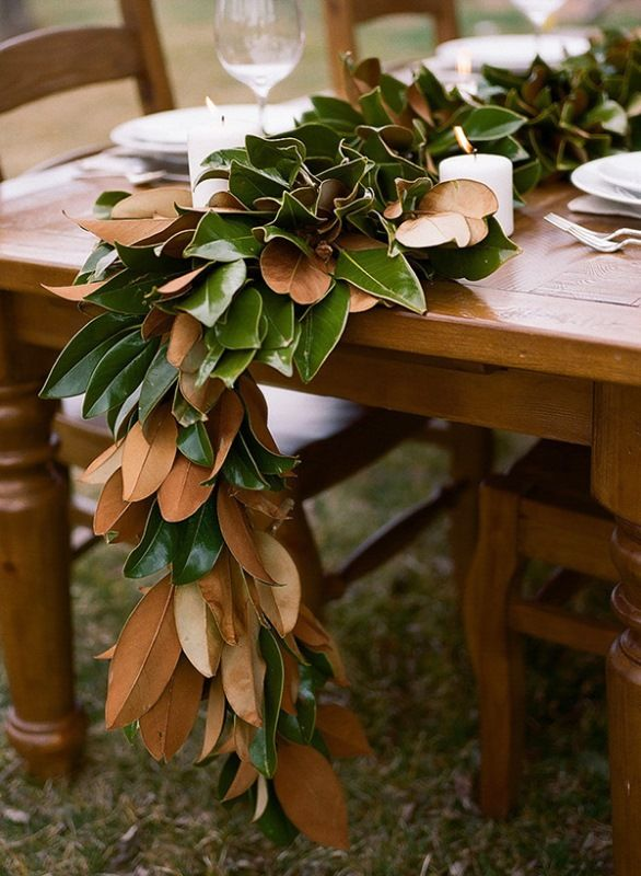 Magnolia Leaves Table Runner So In Right Now Rustic