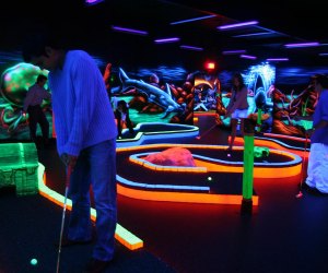 4 Spots To Play Glow In The Dark Mini Golf Around Houston Mommy Poppins Things To Do With Kids Indoor Mini Golf Mini Golf Blacklight Mini Golf