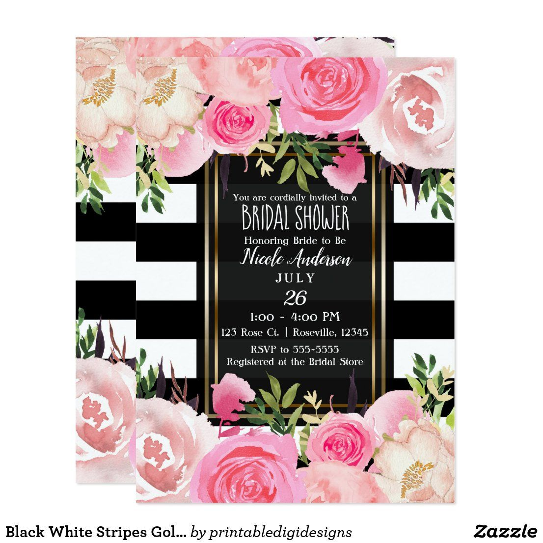 Black White Stripes Gold Pink Floral Bridal Shower