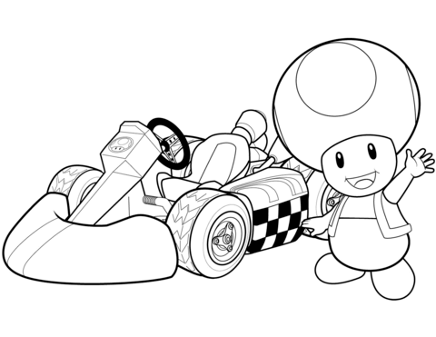 Toad in Mario Kart Wii Coloring page | Alex | Pinterest | Mario kart ...