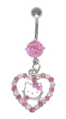 Hello Kitty Pink Dangle Belly Button Ring Hello Kitty Love Belly