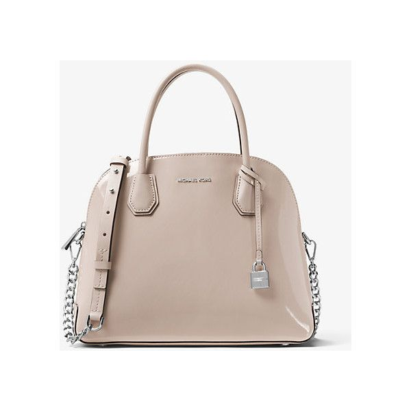 d93be687e1bf Michael Kors Studio Mercer Large Patent Leather Dome Satchel ( 298) ❤ liked  on Polyvore featuring bags