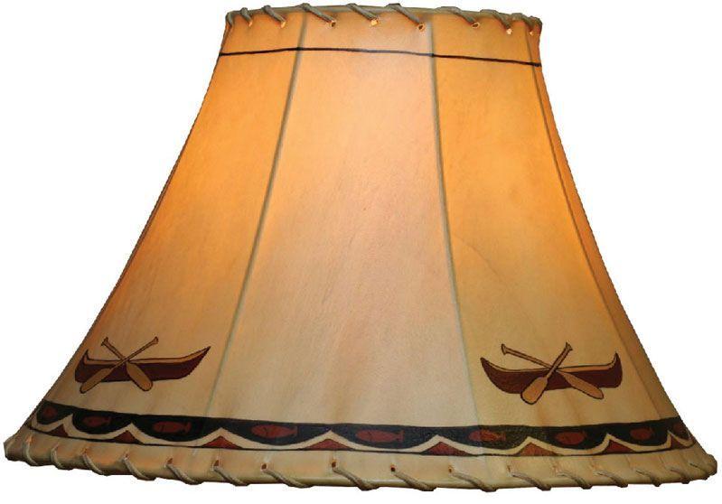 Handpainted Bear Lamp Canoe Hand Painted Rawhide Large