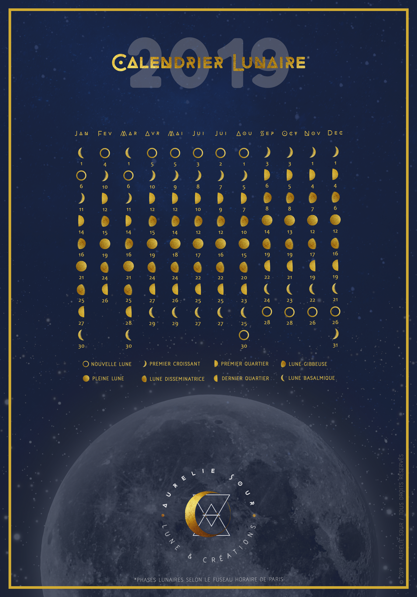 Calendrier lunaire 2019 - Retrouvez les 8 phases de lune