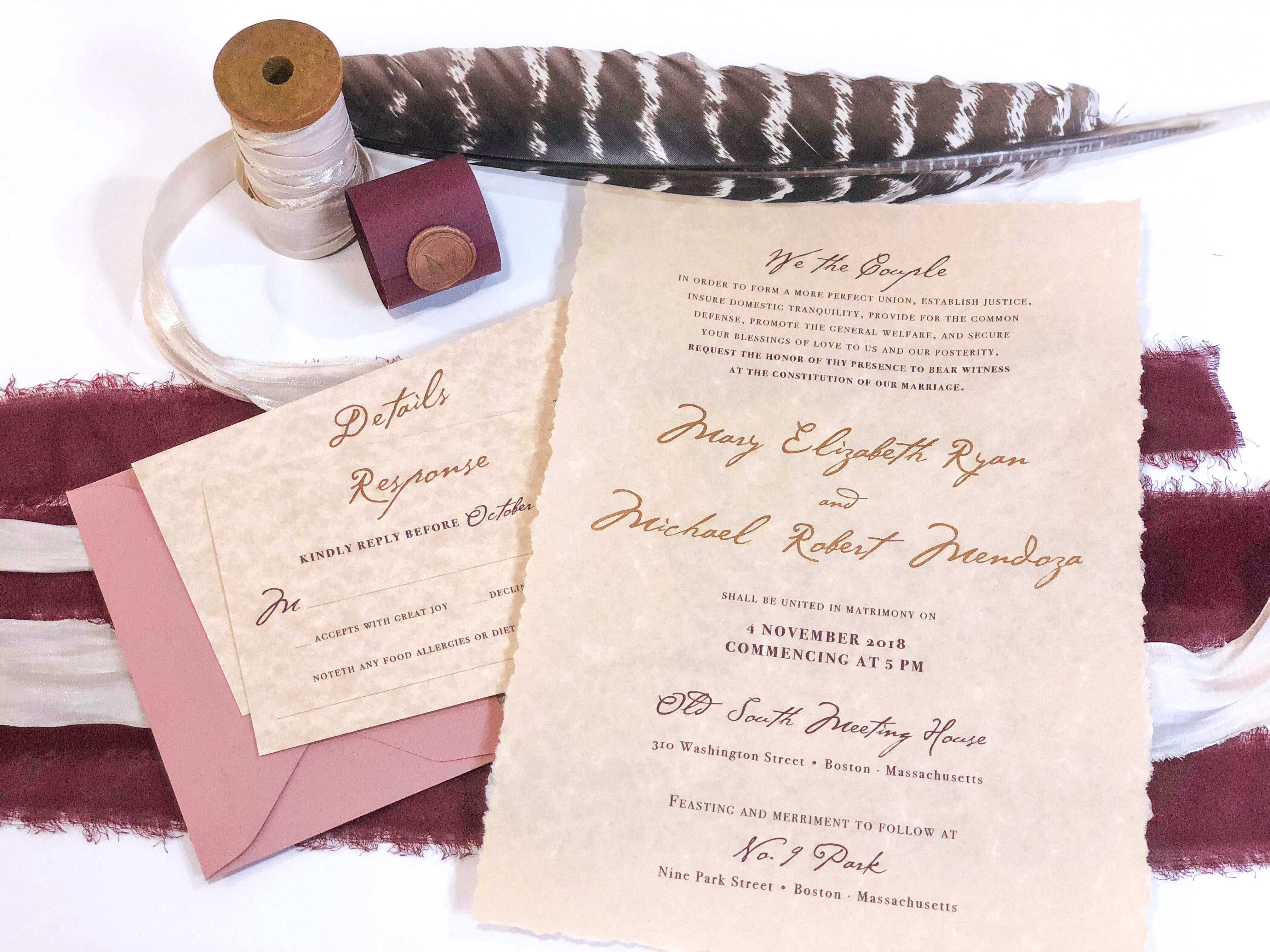 Americana Colonial Inspired Wedding Invitation Parchment Paper