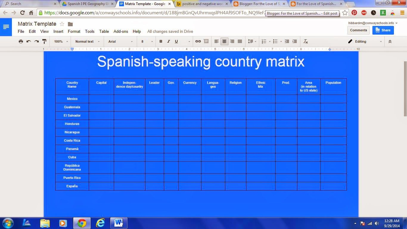 For The Love Of Spanish A Matrix Doc Of Spanish Speaking Countries And A Geography