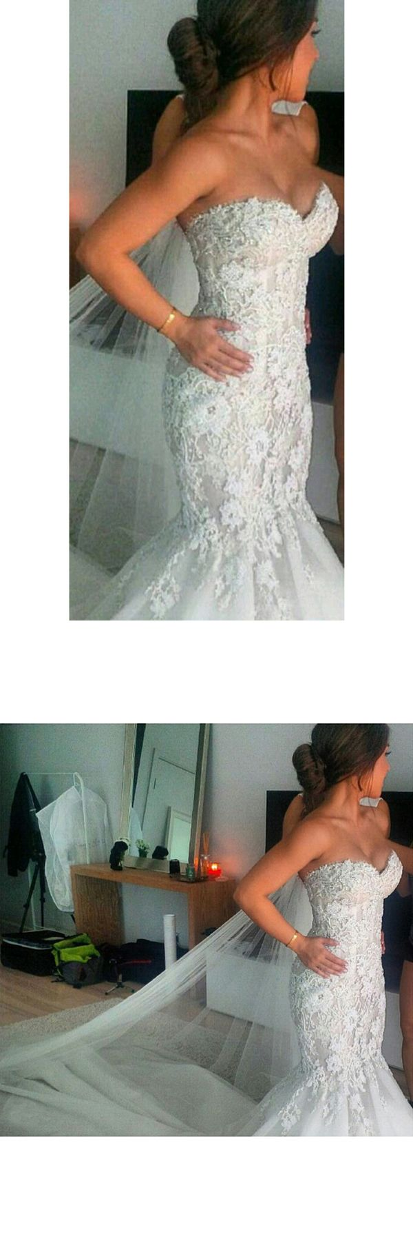 2019 Wedding Dresses Sweetheart Tulle With Applique Court Train Mermaid