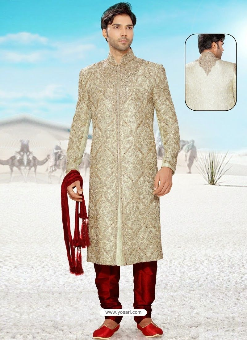 Buy Lovely Beige Brocade Readymade Sherwani with Art Silk Churidar Online from India at yosari.com .Model: YOSHV417, Express Worlwide Shipping,14 Days 100% return policy