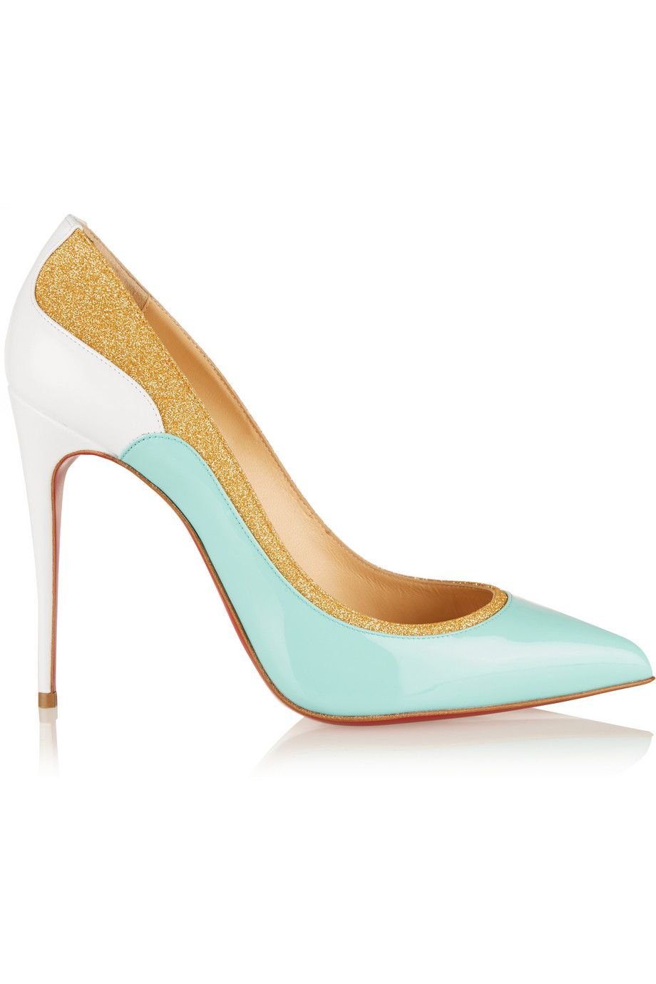 Christian Louboutin | Tucsick 100 glitter-trimmed patent-leather pumps | NET-A-PORTER.COM