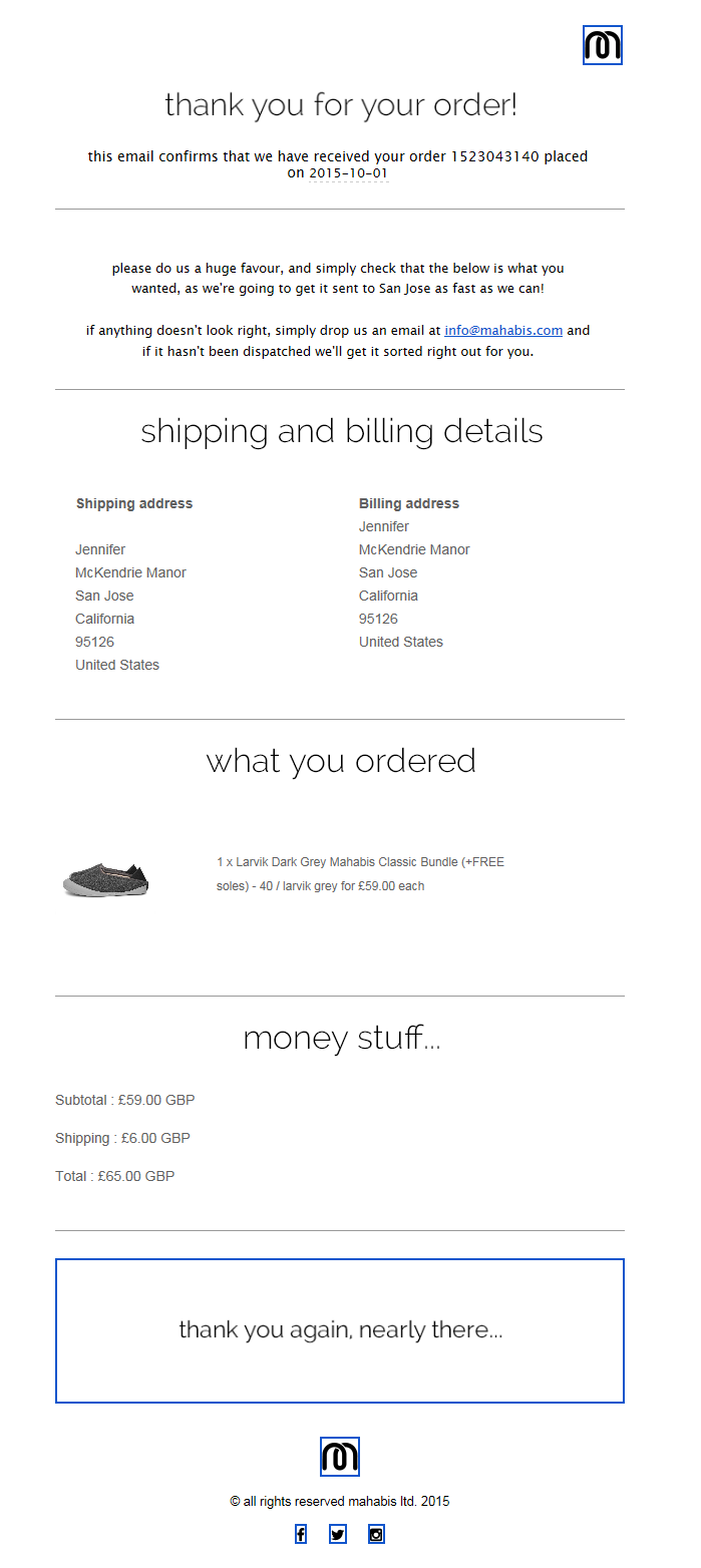 Mahabis Transactional Email // SL: mahabis // thank you and order ...