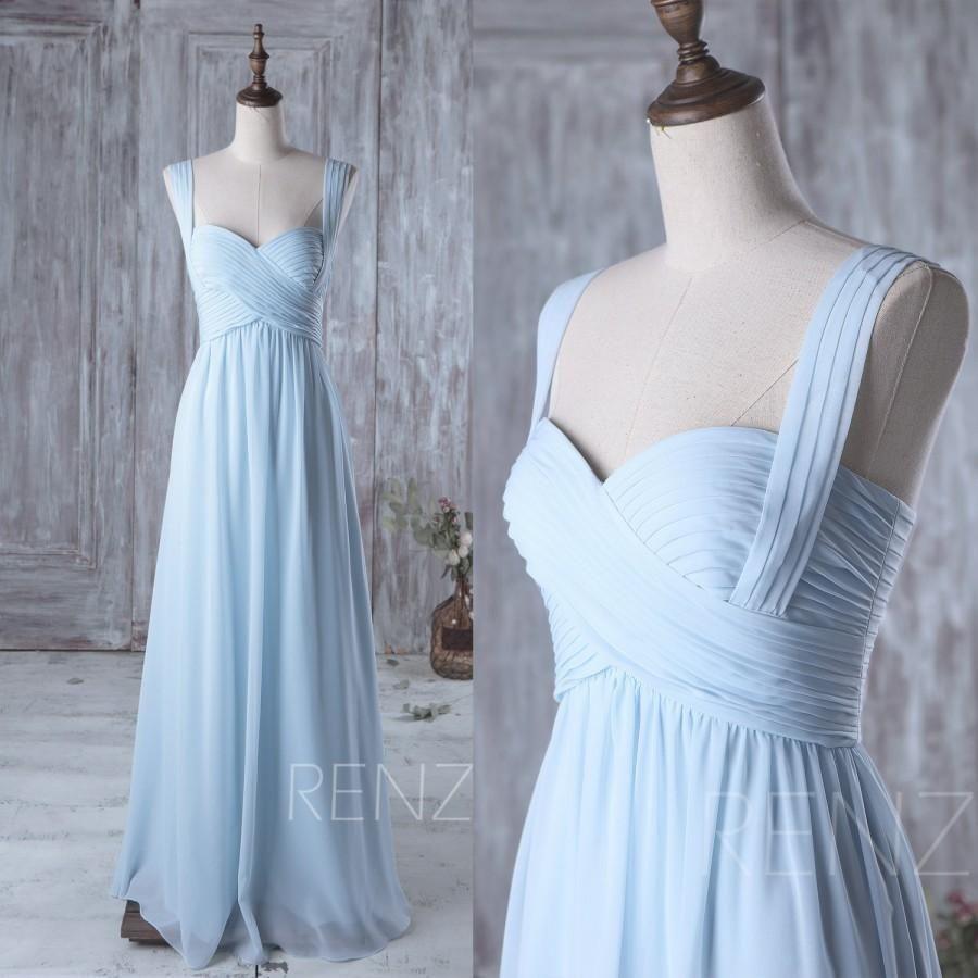 Light blue chiffon long bridesmaid dresses bd