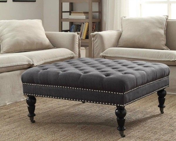 Brilliant Cocktail Ottoman Large Square Charcoal Gray Tufted Machost Co Dining Chair Design Ideas Machostcouk
