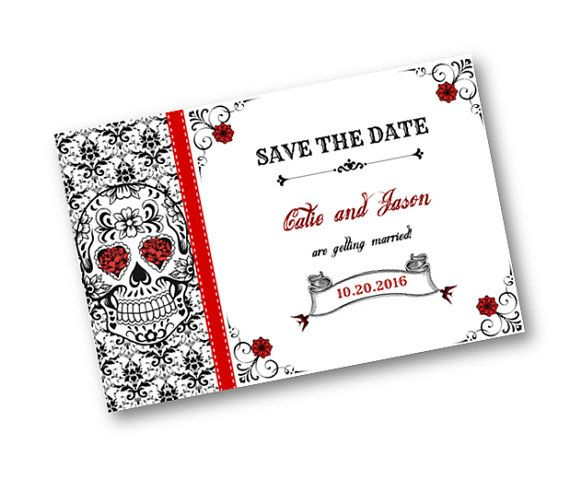 Matching Save The Date And Wedding Invitations: Sugar Skull Damask Red Black And White Wedding Save The