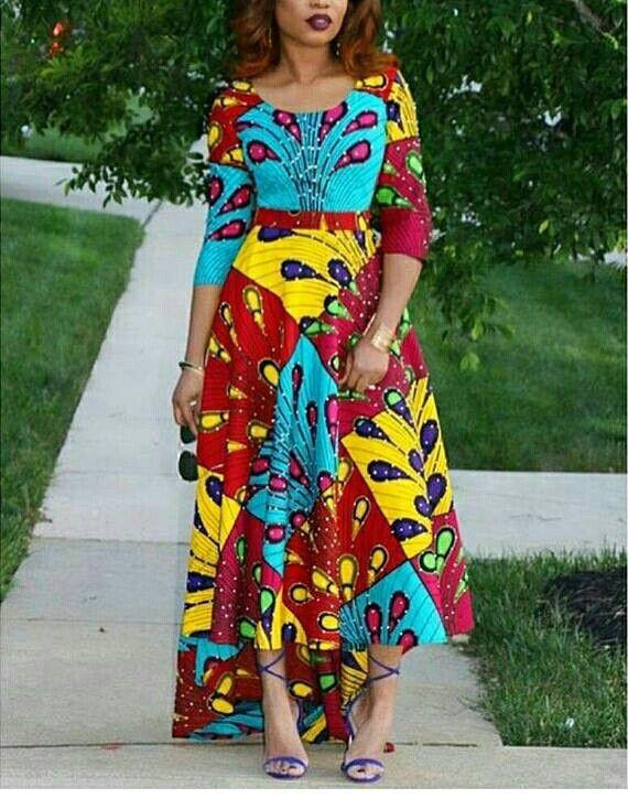 Three Quarter Sleeves Maxi Chitenge Dress Kanyget Fashion African Fashion Pinterest