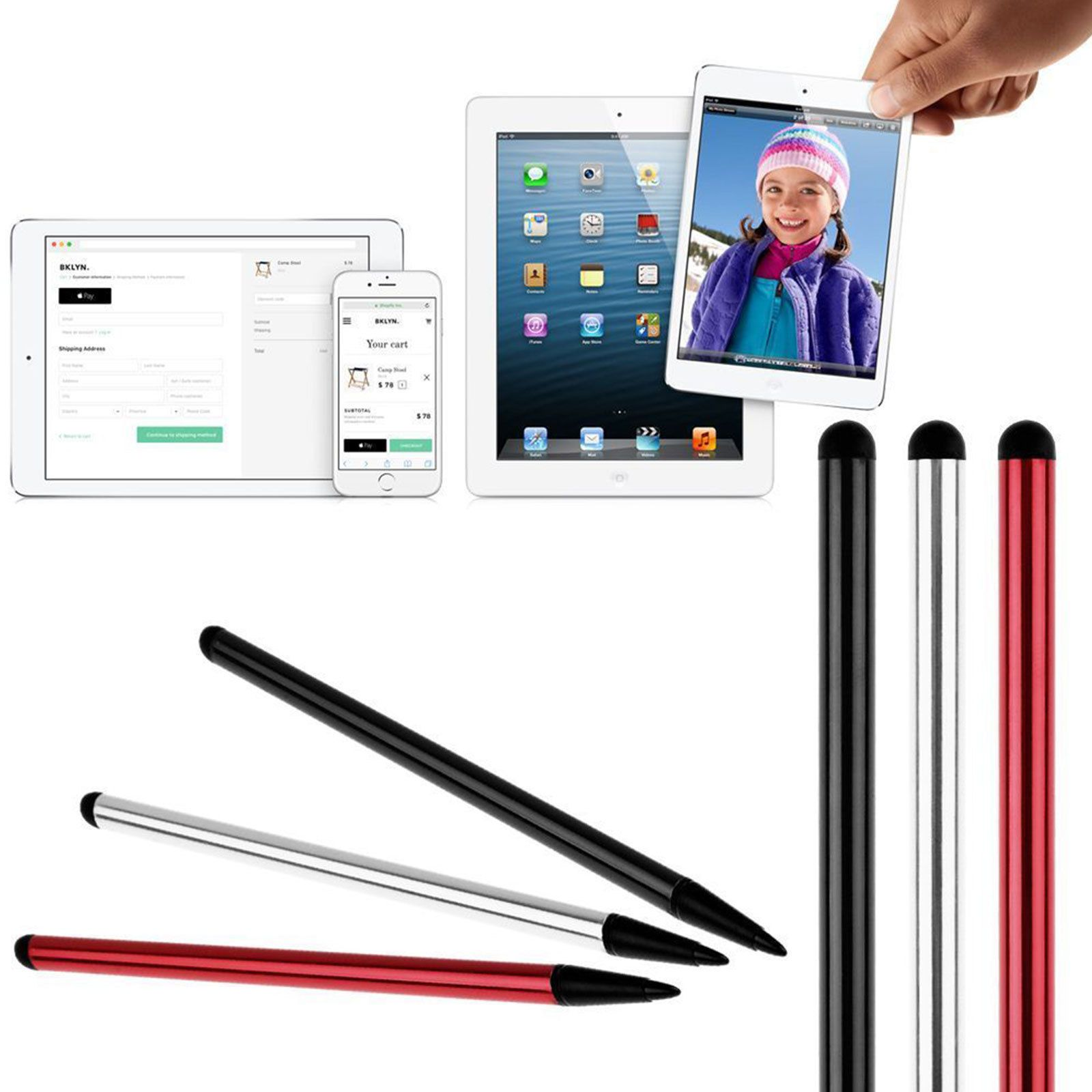 2 in 1 Touch Screen Pen Stylus For iPhone iPad Samsung Tablet Phone PC Universal