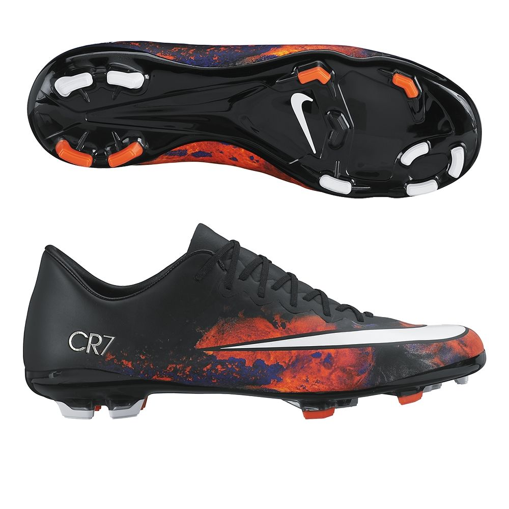 5efcc2f9e25 Mercurial Vapor X CR7 FG Youth Soccer Cleats (Black Total Crimson Metallic  Silver White)