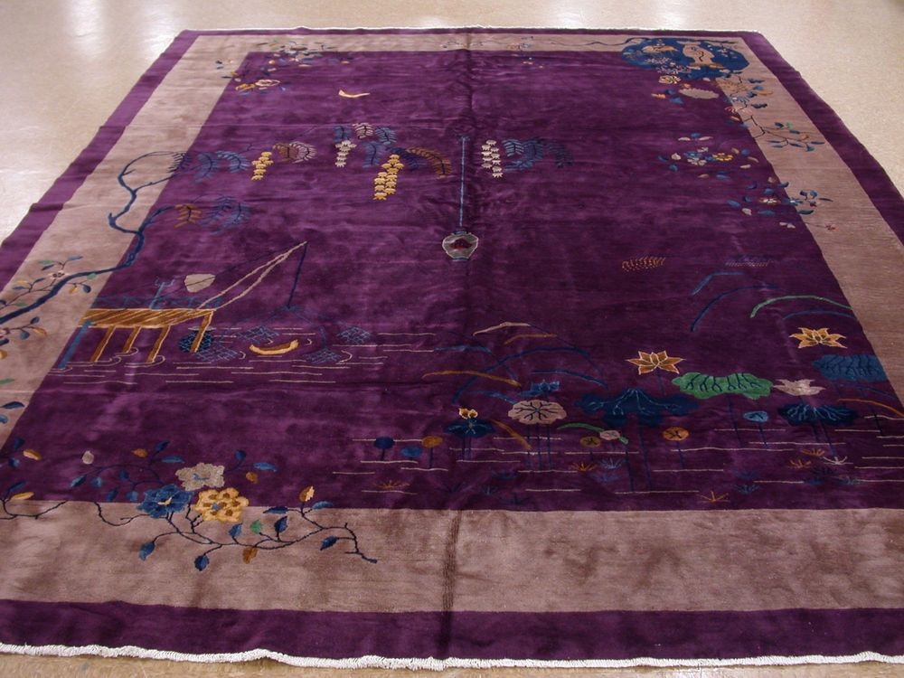 10x13 Antique Chinese Art Deco Hand Knotted Wool Purple Brown Fine Oriental Rug Chineseartdeco