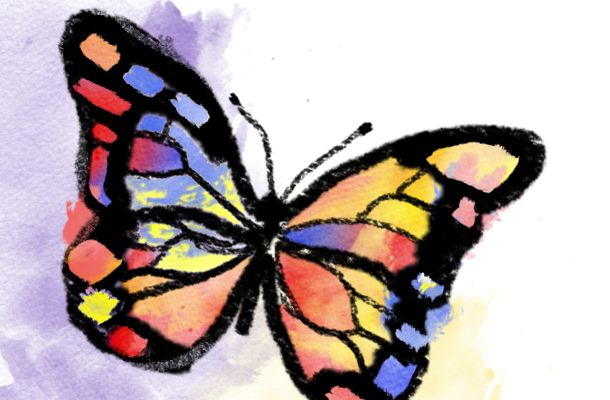 Watercolor And Crayon Butterfly Tutorial