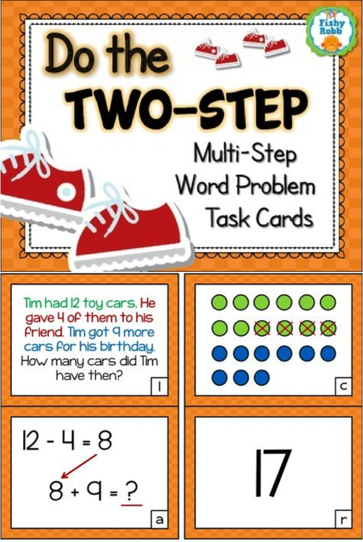 Two-Step Word Problems - Addition and Subtraction Task Cards | Word ...