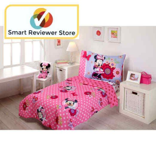 Toddler Bedding Set Disney Minnie Mouse Bow Power 4 Piece Pink