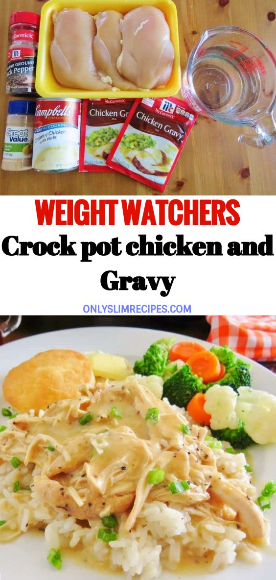 Weight Watchers crock pot chicken and Gravy #healthycrockpotrecipes
