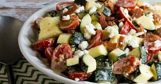 Bacon, Tomato, and Zucchini Salad Recipe with Feta (Low-Carb, Gluten-Free)