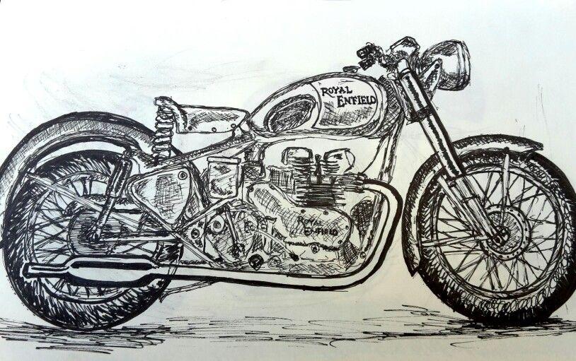 Royal Enfield Diy Art Painting Bike Drawing Famous Art Paintings