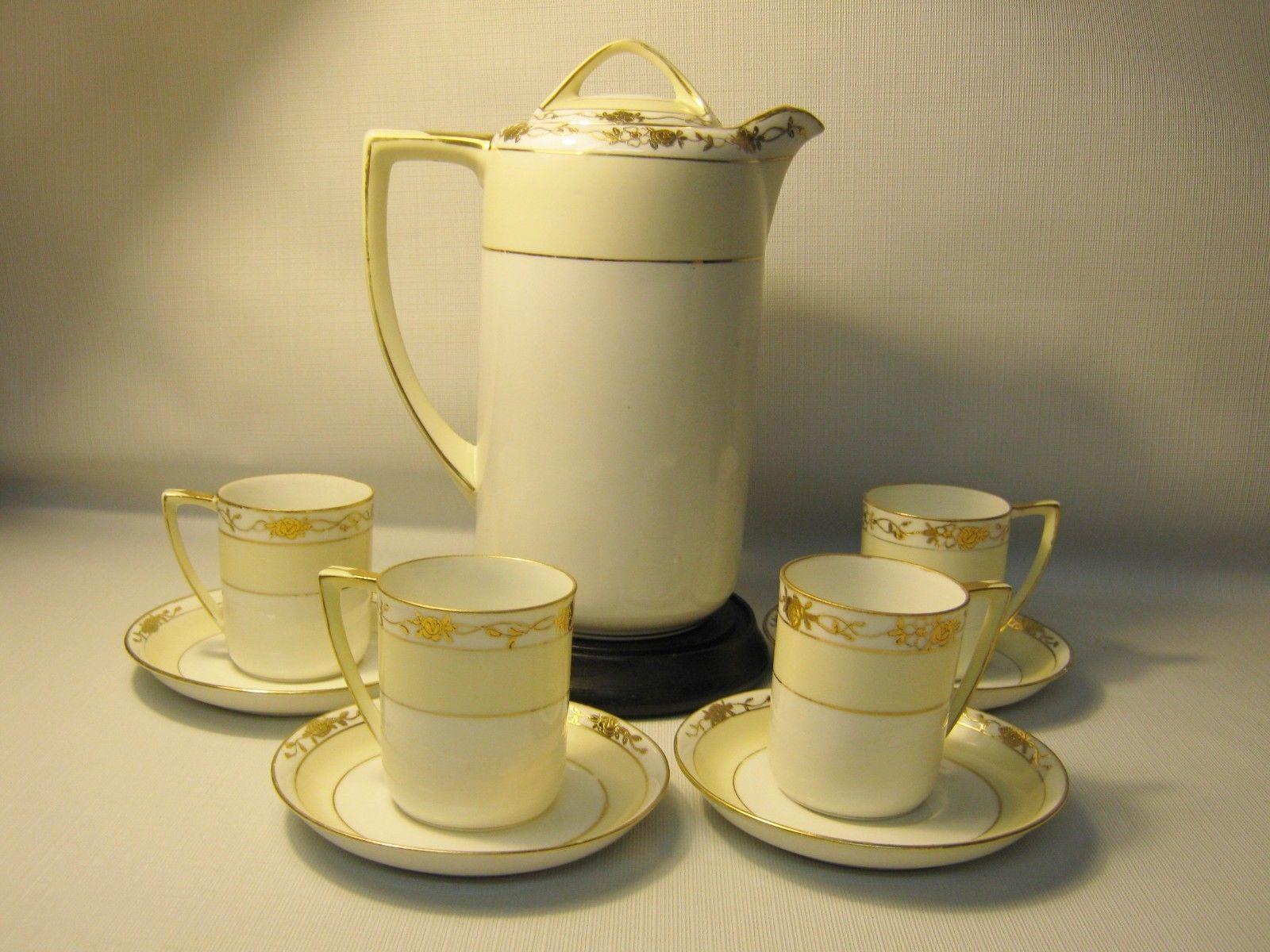 VINTAGE NIPPON PORCELAIN CHOCOLATE POT SET 4 DEMITASSE CUPS SAUCERS WHITE GOLD