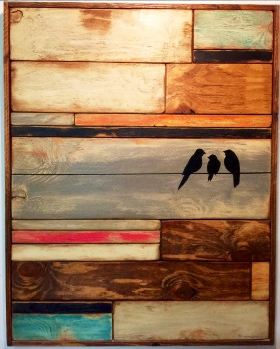 Reclaimed Wood Art Wall Hanging Birds On Wire Distressed Mosaic Teal Pink Orange Black White Pallet Barn Large