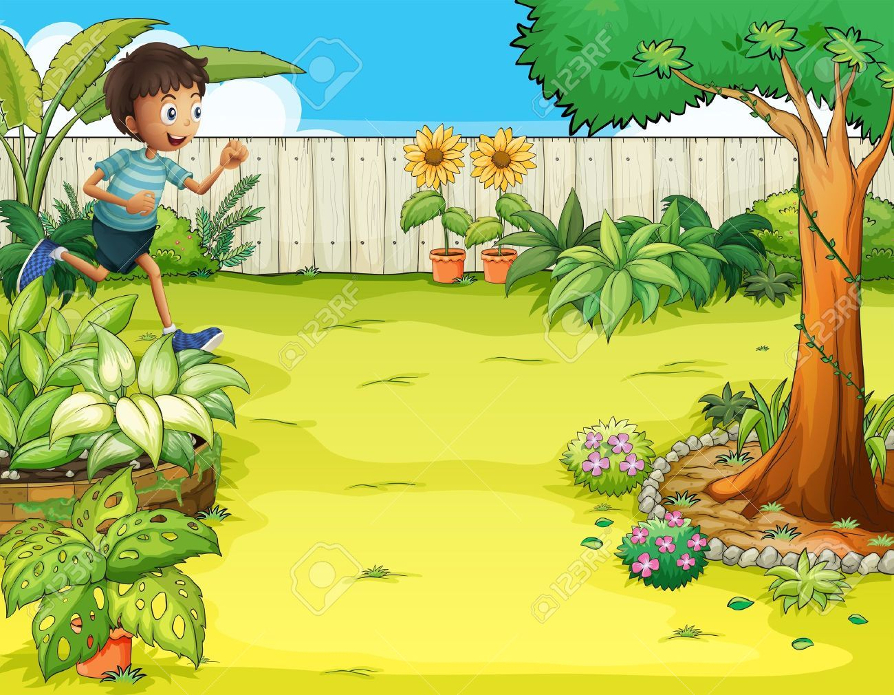 illustration of a boy running at the backyard royalty free cliparts vectors and stock illustration pic 18005070  [ 1300 x 1010 Pixel ]