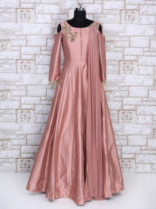 Designer Pink Color Silk Gown, Wedding gown, wedding wear gown, net ...