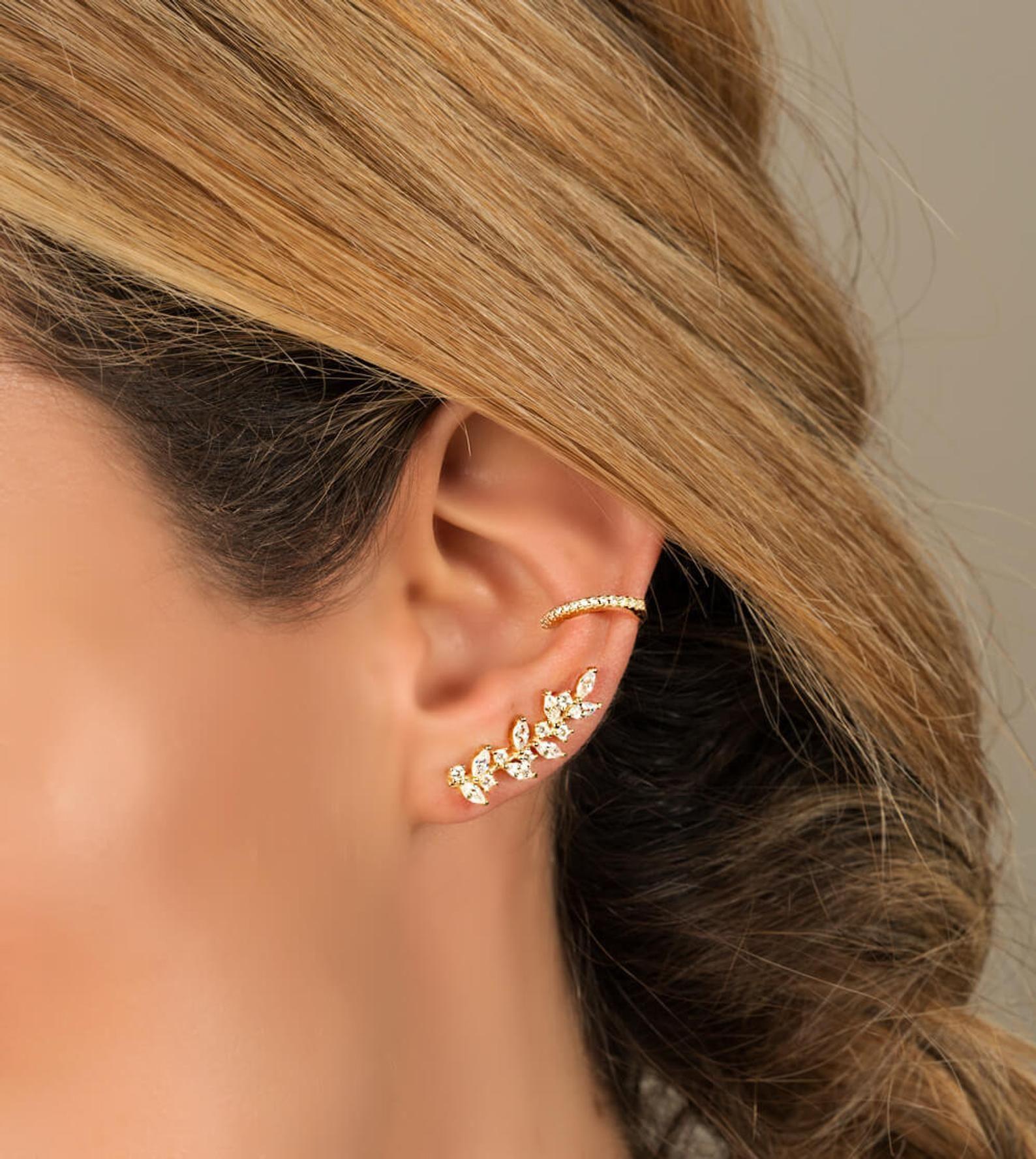 Ear Climber Gold Ear Climbers Ear Crawler Ear Climber Etsy Emerald Earrings Studs Silver Crystal Earrings Tiny Stud Earrings