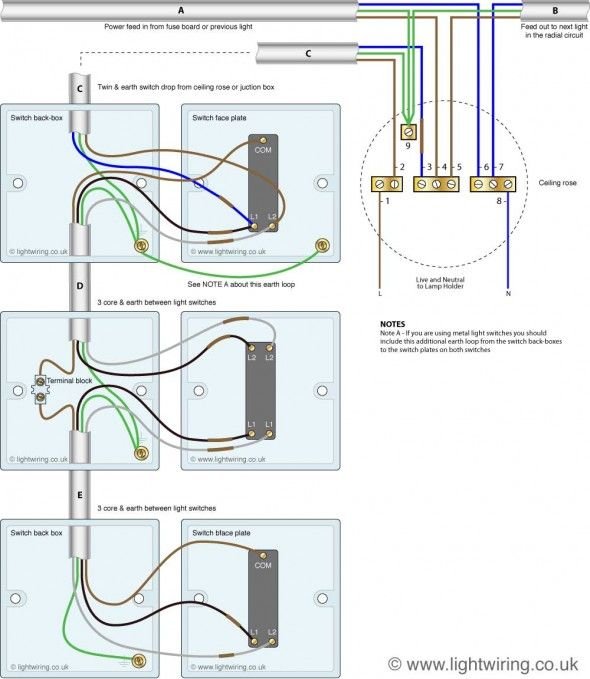 three way light switching (new cable colours) showing connection Ceiling Light Wiring Diagram three way light switching (new cable colours) showing connection to a ceiling rose ceiling light wiring diagram