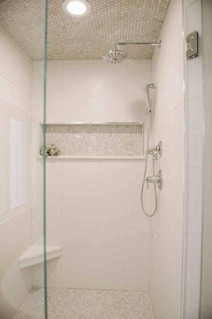 Built In Shelf The Length Of Shower Great Idea Walk With Marble Hex And Large White Tiles