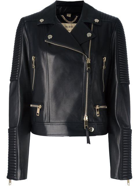 burberry quilted detail lambskin biker jacket