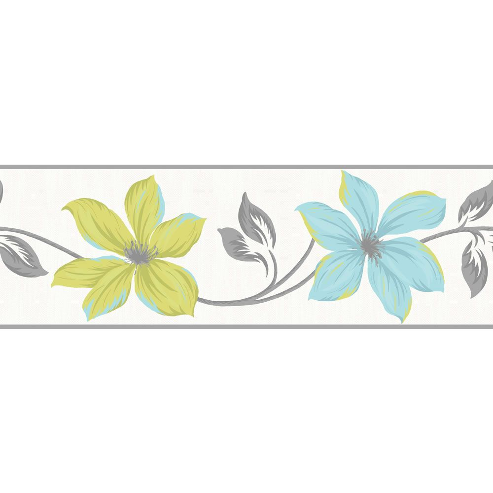 Wall stickers wilko - Lilly Teal Lime Border At Wilko Com