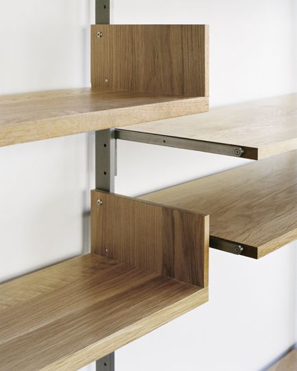 Atlas Industries as4 Shelving System is available in white oak, maple, walnut, or custom-painted solid wood with sturdy steel brackets