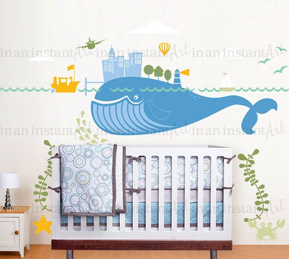 Under The Sea Transportation Scene With Whale Wall Decal For A Nautical Baby Nursery Kids Or Childrens Room 038