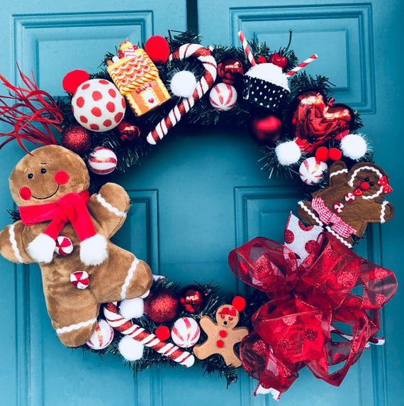 Gingerbread Man Christmas Wreath Gingerbrwad House Candyland Etsy