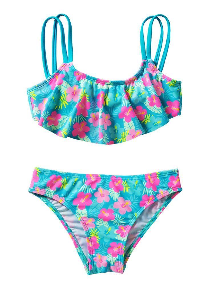 728c53cb573 Hotsellglobal.com-Swimwear-Bikini-Online-Free-Shipping-Girls-Ruffle-Flower- Print-Two-Piece-Swimsuit-Set #swimwear #swimsuit #bikini #beach  #hotsellglobal