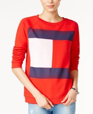 TOMMY HILFIGER Tommy Hilfiger Flag Logo Sweatshirt, Only At Macy'S. #tommyhilfiger #cloth # tops