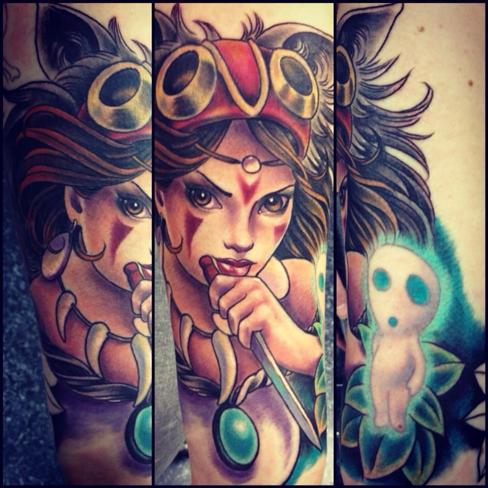 Princess Mononoke tattoo, love the depth of the colors ...