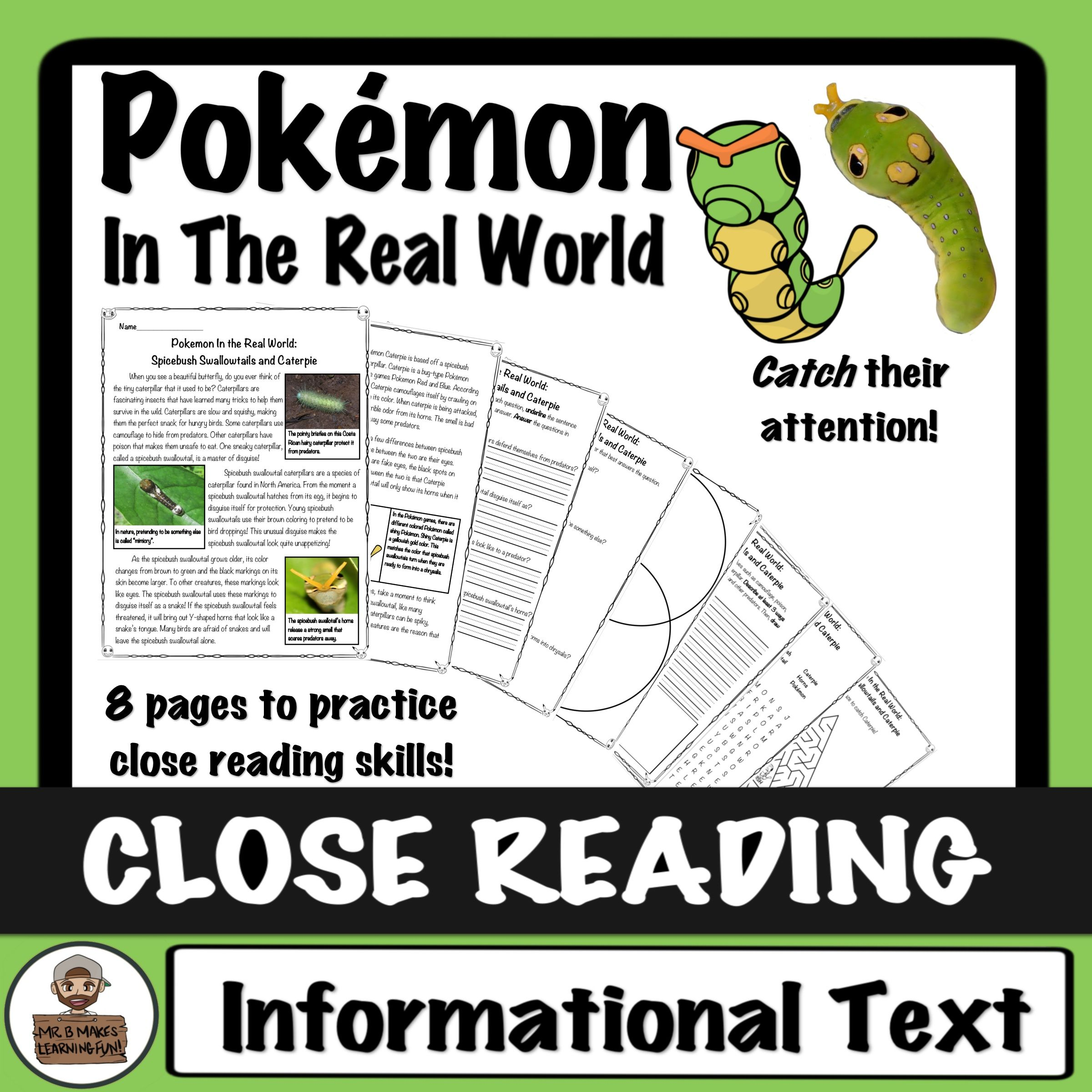 Pokemon Close Read And Worksheets Activities Spicebush