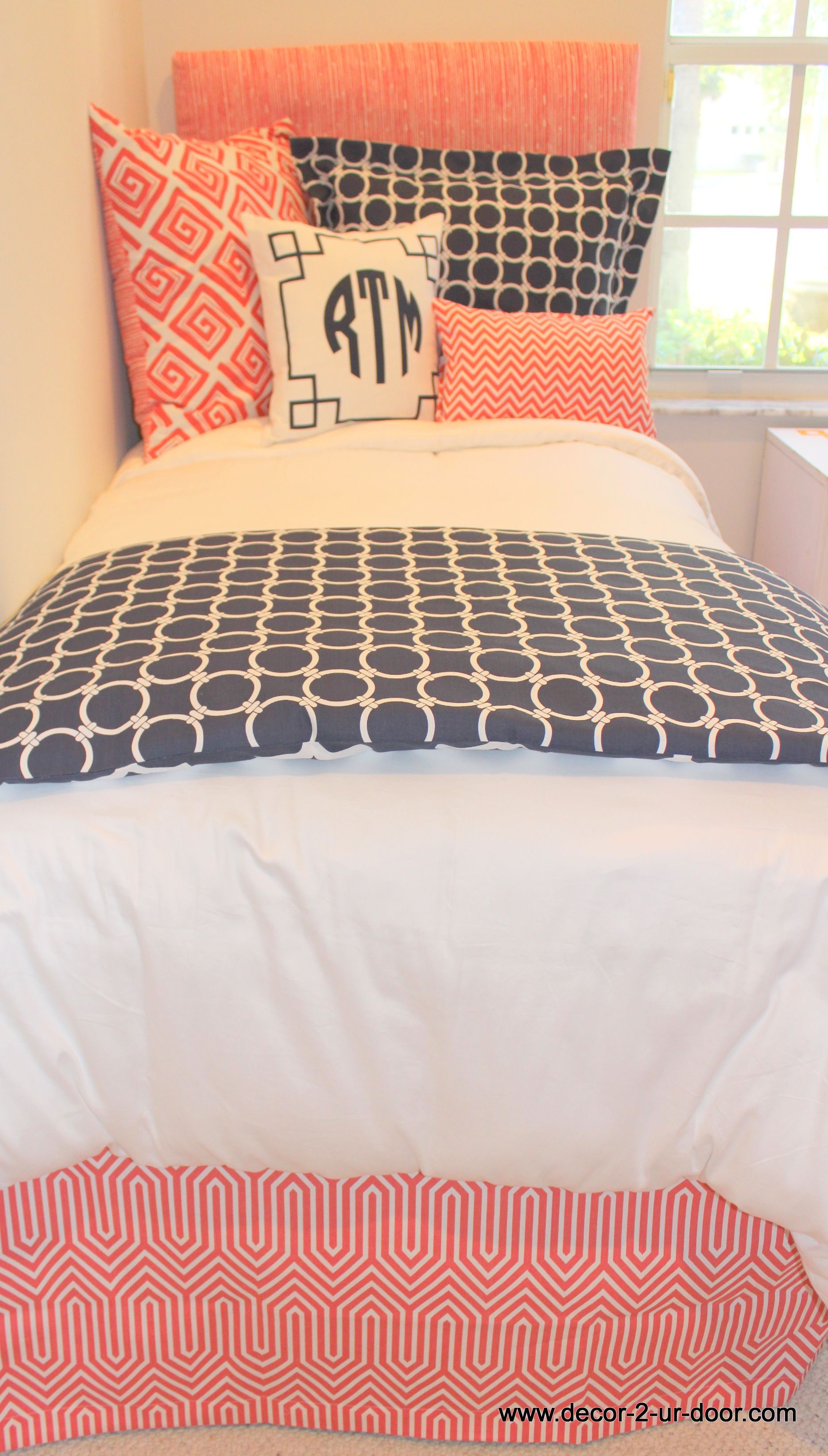 coral and navy dorm bedding set rfect for coordinated looks
