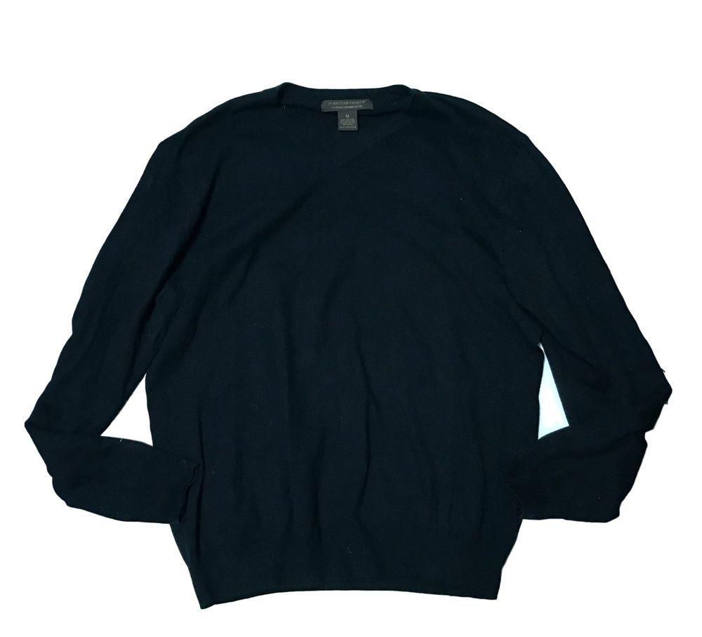 Sebastian Cooper Cotton Cashmere Blend Black Mens VNeck V-Neck Sweater SZ Medium #SebastianCooper #VNeck